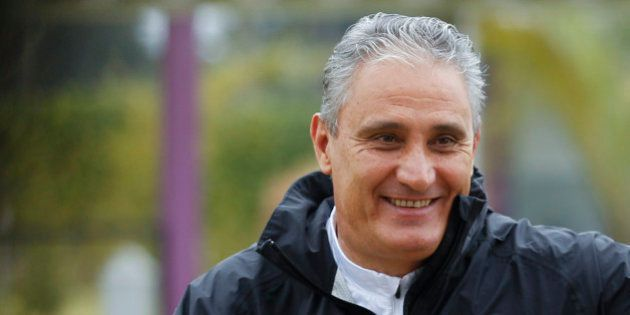 SAO PAULO, BRAZIL JUNE 24: Coach Tite smiles during a Corinthians training session at Dr. Joaquim Grava...