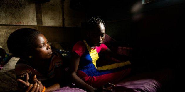 New Kru Town, Monrovia, Liberia - June 4, 2014: Martha Wieh, a rape survivor, in her home in New Kru...