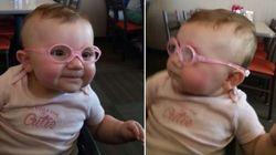 ASSISTA: Bebê com miopia usa óculos e enxerga os pais pela primeira