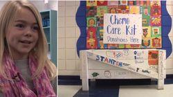 Garotinha distribui 'kits de quimioterapia' para crianças com