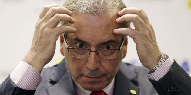 President of the Chamber of Deputies Eduardo Cunha reacts during a seminar in Brasilia, Brazil August...