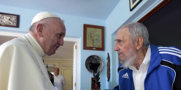 Pope Francis and Cuba's Fidel Castro shake hands, in Havana, Cuba, Sunday, Sept. 20, 2015. The Vatican...