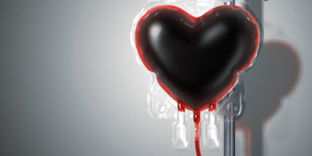 A blood bag looks like heart on the stand. Include a clipping path. 3D