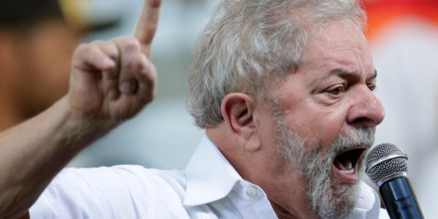 Brazil's former President Luiz Inacio Lula da Silva speaks during a meeting of Social Movements for Democracy,...