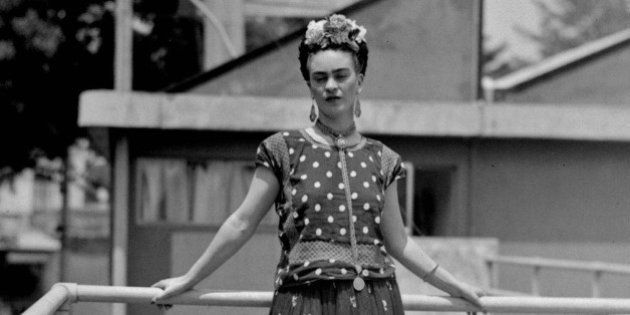 FILE - In this April 14, 1939 file photo, painter Frida Kahlo poses at her home in Mexico City. The Frida...