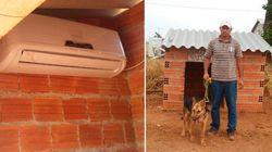 Calor! Homem instala ar-condicionado em casinha de cadela no