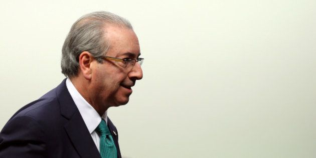 Brazil's President of the Chamber of Deputies Eduardo Cunha arrives to make his defense in an ethics...