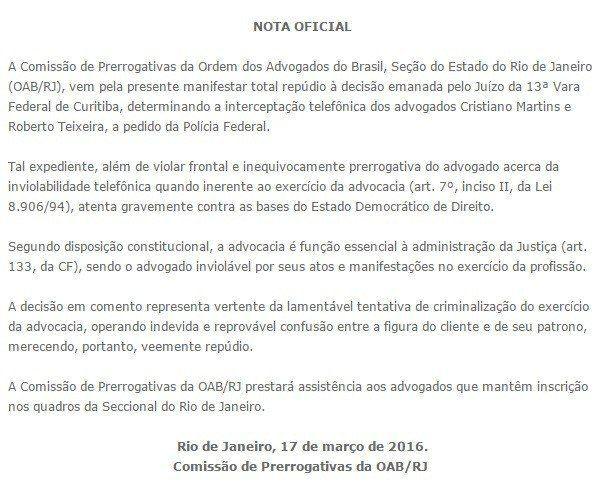 OAB-RJ repudia vazamento dos áudios entre Lula e
