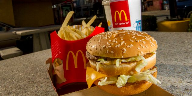 A McDonald's Corp. Big Mac meal is arranged for a photograph outside of a restaurant in San Francisco,...