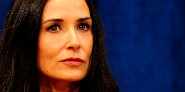 US actress Demi Moore addresses a press conference priot to the launch of a UN fund aimed at helping...