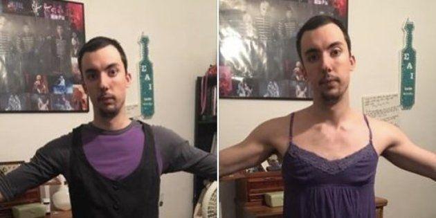 Este cara provou as roupas da namorada (e mostrou como padrões de beleza são perversos com as