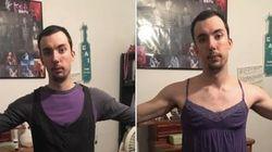 Ele provou as roupas da namorada (e mostrou como padrões de beleza são