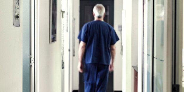 Dentist walking down the