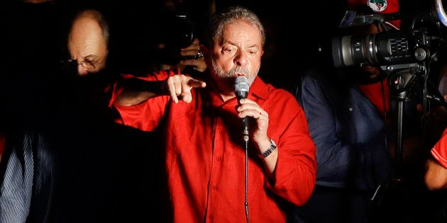 Brazil's former President Luiz Inacio Lula da Silva speaks during a rally in support of him and Brazil's...