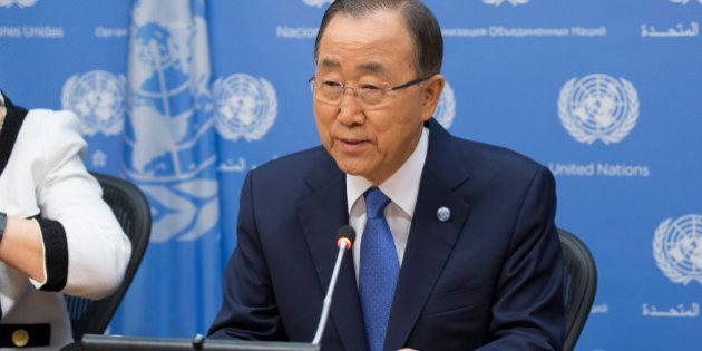 UNITED NATIONS, NEW YORK CITY, NY, UNITED STATES - 2015/09/18: Secretary General Ban Ki-moon attends...