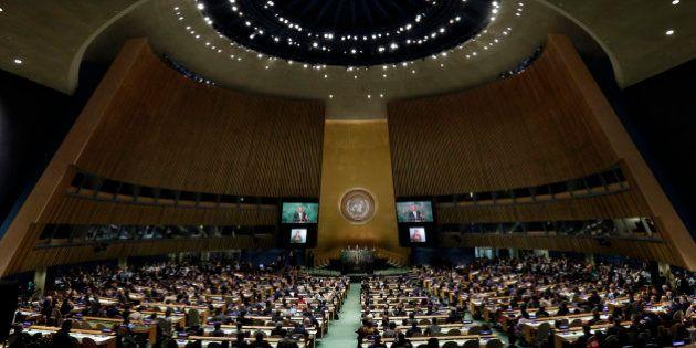 President Barack Obama addresses the 2015 Sustainable Development Summit, Sunday, Sept. 27, 2015, at...