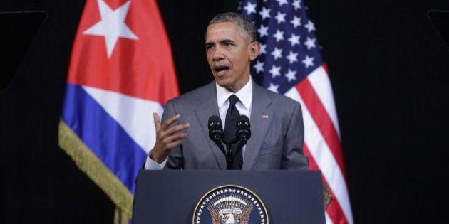 HAVANA, CUBA - MARCH 22: U.S. President Barack Obama delivers remarks at the Gran Teatro de la Habana...