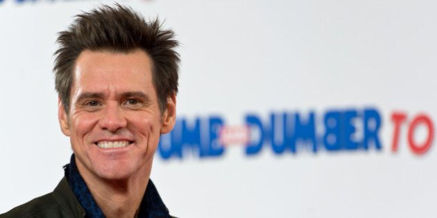 LONDON, ENGLAND - NOVEMBER 20: Jim Carrey attends a photocall for 'Dumb and Dumber To' on November 20,...