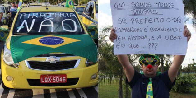 Taxistas do Rio de Janeiro fazem protesto contra aplicativo