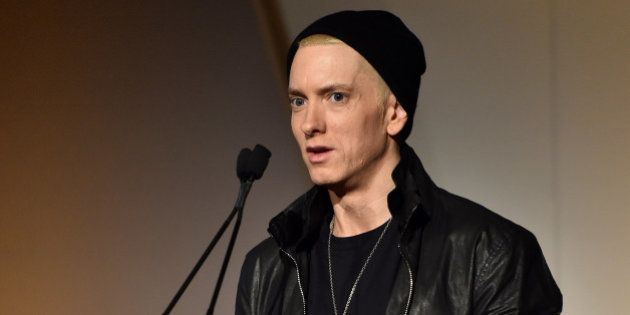 NEW YORK, NY - NOVEMBER 05:  Eminem speaks onstage at WSJ. Magazine 2014 Innovator Awards at Museum of Modern Art on November 5, 2014 in New York City.  (Photo by Mike Coppola/Getty Images)