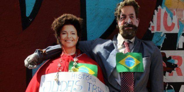 Bonecos de Dilma e Lula são malhados como Judas em sábado de