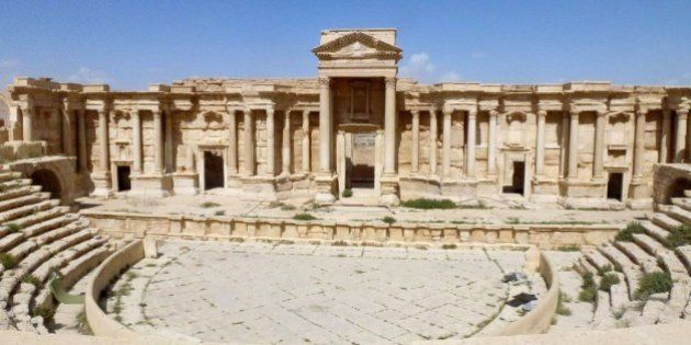 A general view taken on March 27, 2016 shows the theatre in the ancient Syrian city of Palmyra, after...