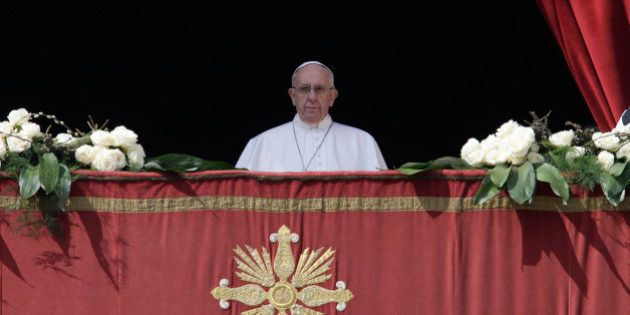 Pope Francis delivers the Urbi et Orbi (to the city and to the world) message at end of the Easter mass,...