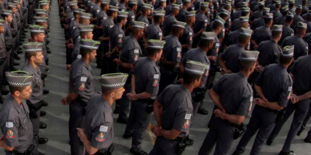 SAO PAULO, BRAZIL - MAY 11: Policemen of Sao Paulo State Military line up during the graduation of 2,811...