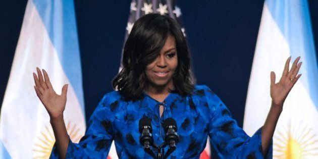 US First Lady Michelle Obama gestures as she delivers a speech at the Centro Metropolitano de Diseno...