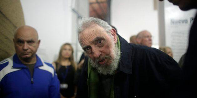 HAVANA, CUBA - JANUARY 08: Fidel Castro, Cuba's former President and revolutionary leader, looks at the...