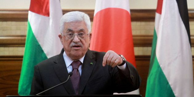 RAMALLAH, WEST BANK - JANUARY 20: Palestinian President Mahmoud Abbas delivers a speech during a joint...
