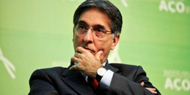 Fernando Pimentel, minister of development for Brazil, listens during the 22nd Brazilian Steel Congress...