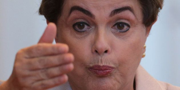 CORRECTS PLACE OF PRESS CONFERENCE - Suspended Brazilian President Dilma Rousseff speaks during a press...