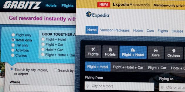 MIAMI, FL - FEBRUARY 12: In this photo illustration, the website for Expedia Inc. and Orbitz Worldwide...