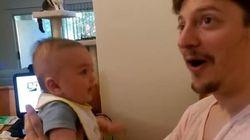 ASSISTA: Bebezinho de 3 meses surpreende pai ao ~dizer~ 'eu te