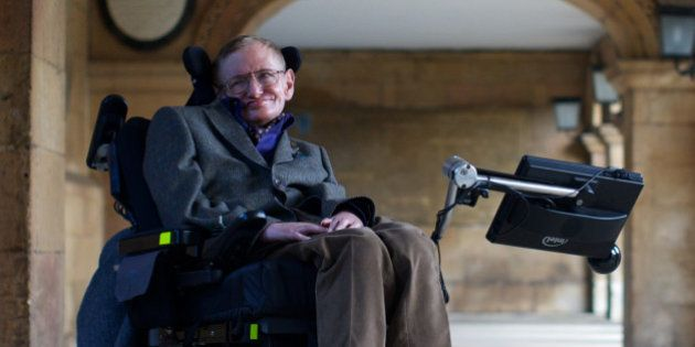 Theoretical physicist Stephen Hawking poses during a photo call for a gala screening of the documentary...