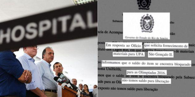 Governo do Rio admite que material que falta em hospitais e postos estava reservado para as Olimpíadas...