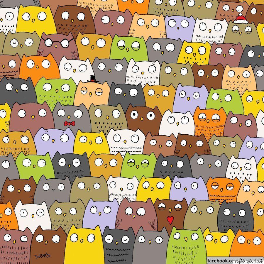 Em ilustração, desenhista Dudolf esconde gato em meio a corujas e quer que você o