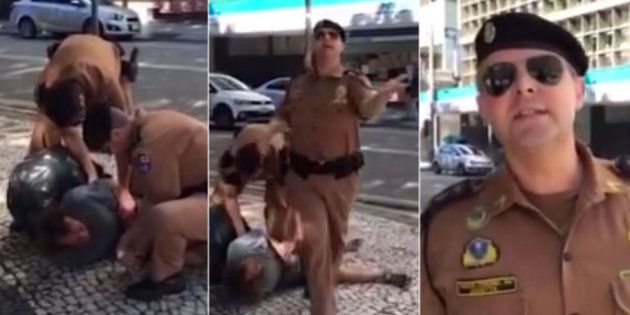 Policiais militares abordam morador de rua de maneira truculenta em Curitiba