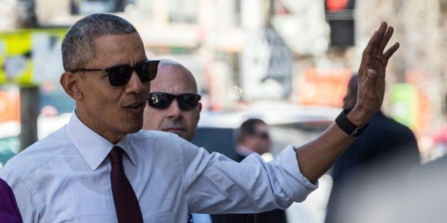 US President Barack Obama arrives to meet with formerly incarcerated individuals who received commuted...