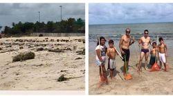 Rivaldo foi surpreendido pela praia completamente suja. E decidiu