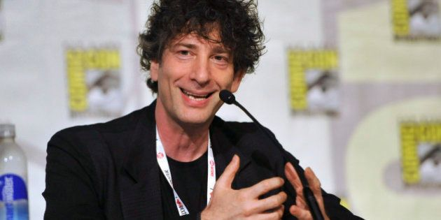 FILE - This July 21, 2013 file photo shows Neil Gaiman speaking at the Spotlight on Neil Gaiman panel...