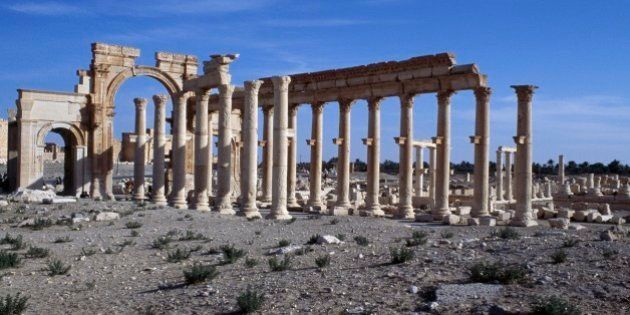 SYRIA - NOVEMBER 08: The triumphal arch of Septimius Severus and the main colonnaded street of Palmyra...