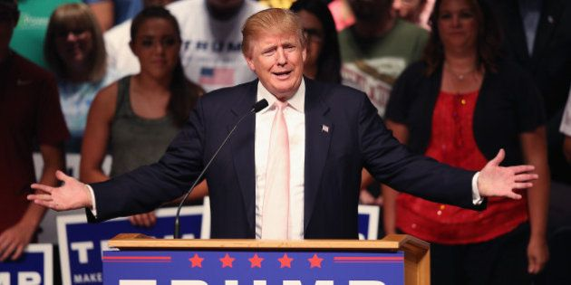 OSKALOOSA, IA - JULY 25: Republican presidential hopeful businessman Donald Trump speaks to guests gathered...