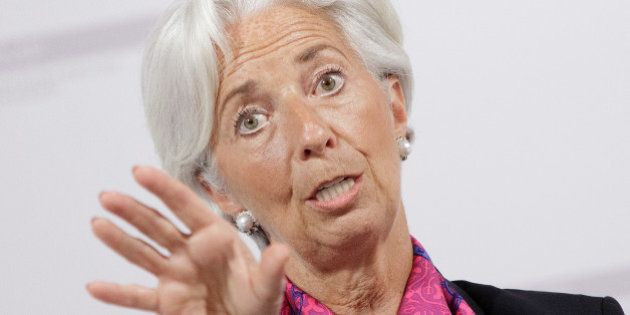 IMF chief Christine Lagarde speaks during a discussion about the consequences of a British exit from...