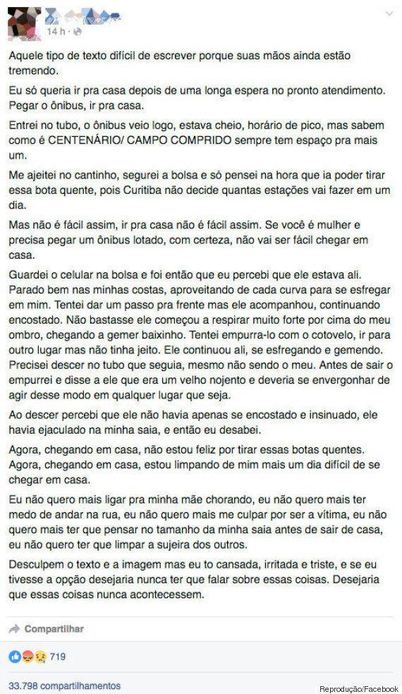 Desabafo de vítima de abuso sexual em ônibus de Curitiba viraliza: 'Ele não apenas se encostou. Ele ejaculou...