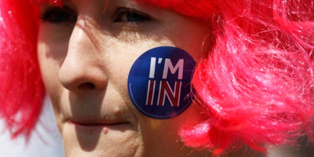 A woman with a sticker of her face attends a 'March for Europe' demonstration against Britain's decision...