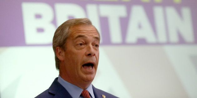 Nigel Farage, the leader of the United Kingdom Independence Party (UKIP), speaks at a news conference...