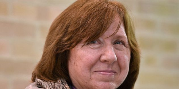 Belarusian journalist Svetlana Alexievich --2015 Nobel prize for Literature-- gestures during an interview...