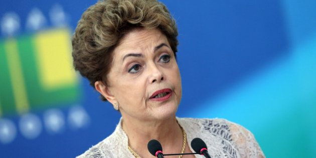 Brazil's President Dilma Rousseff speaks during the swearing-in ceremony of her new Economy Minister...